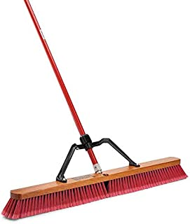 """product image for Libman Commercial 1101 Multi-Surface Heavy Duty Push Broom, 65"""" Length, 36"""" Width, Black/Red (Pack of 3)"""