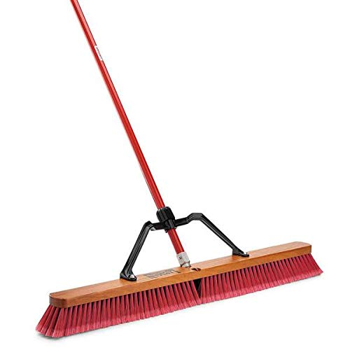 Libman Commercial 1101 Multi-Surface Heavy Duty Push Broom, 65'' Length, 36'' Width, Black/Red (Pack of 3)