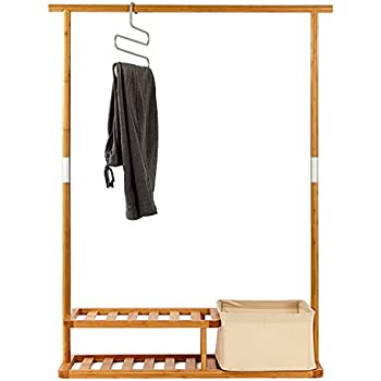 Segarty Garment Rack Heavy Duty Bamboo Clothes With 2 Tier Shoe Shelves And Laundry