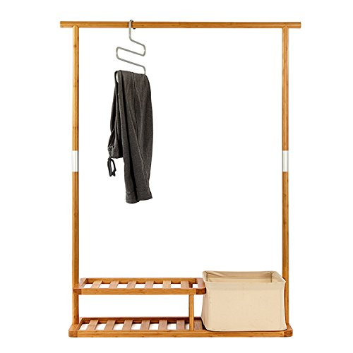 Segarty Multi-Purpose Bamboo Clothing Garment Rack Heavy Duty –Portable Coat & Shoe Clothes Rack -Clothes Hanger Stand with 2 Tier Shoe Shelves and Laundry Basket, Easy to Assemble
