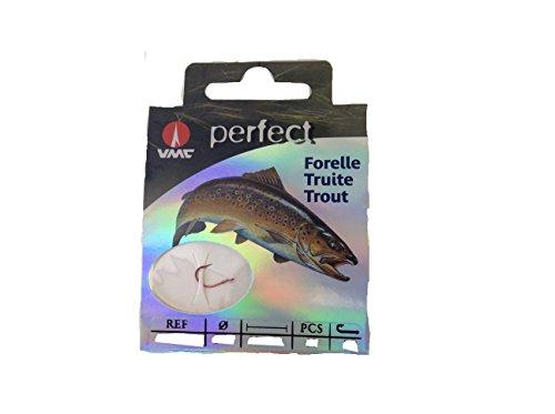VMC Perfect Forelle rot gebundene Forellenhaken 120cm Vorfach, Hakengröße:6