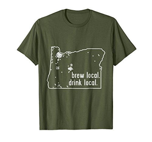 Oregon Beer - Mens Oregon State Brewery Map - Craft Beer Graphic T-Shirt Large Olive