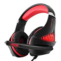 Selieve Gaming Headset for Xbox One, PS4, Nintendo Switch, PC, with Noise Cancelling Mic, LED Light Bass Surround Soft Memory Earmuffs for Fortnite/Red Dead Redemption 2/Far Cry New Dawn