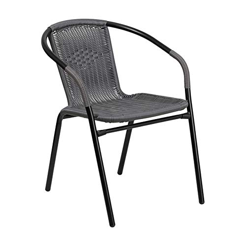 Gray Rattan Indoor-Outdoor Restaurant Stack Chair Indoor Outdoor Rattan Aluminum Chair Chairs W Flash Table Svitlife