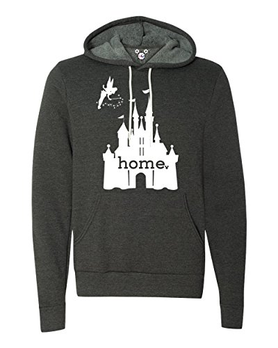 DisGear Disney Cinderella Castle is My Home Apparel for Women - Theme Park Tee (Small, Dark Heather Grey Hoodie)