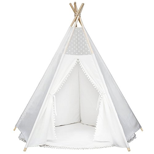 Wonder Space Princess Teepee Pompon Fairy Tent - 5' Large Handcrafted White Lace Pom Pom Cotton Canvas Play Tent Kids Playhouse by, Five-Sided Walls with Door and Window -