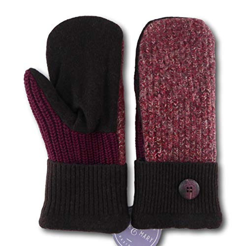 Jack & Mary Designs Handmade Womens Fleece-Lined Wool Mittens, Made from Recycled Sweaters in the USA (Brown/Maroon, Regular)