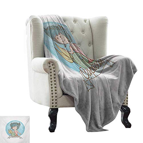 Dog Blanket Zodiac Capricorn,Pastel Toned Mermaid Girl on a Pale Background Astrology Themed Banner,Multicolor Couch/Bed,Super Soft and Warm,Durable Throw Blanket 50