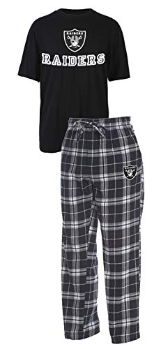 Concepts Sport Oakland Raiders NFL Great Duo Men's T-Shirt & Flannel Pajama Sleep Set