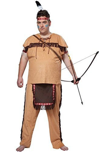 [California Costumes Men's Native American Brave Plus, Tan/Brown, Plus] (Male Indian Chief Costume)