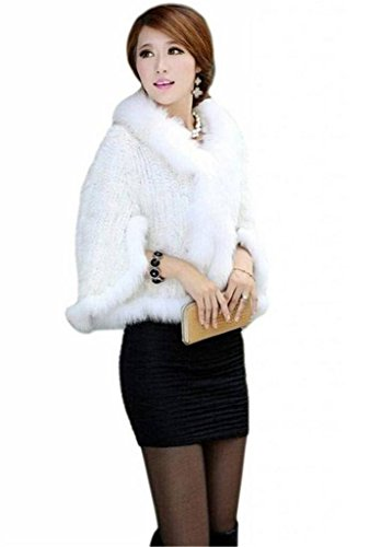 YR Lover Women's Real Mink Fur Warm Stole Cap With Big Fur Collor ()