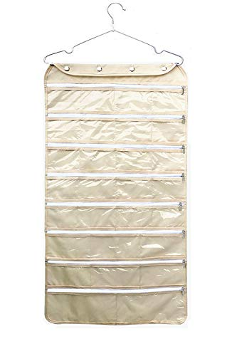 - Ohlily 56 Pockets Wall Hanging Jewelry Organizer Zippered Holder Double Sided for Earrings, Bracelet, Hairband and Other Accessaries