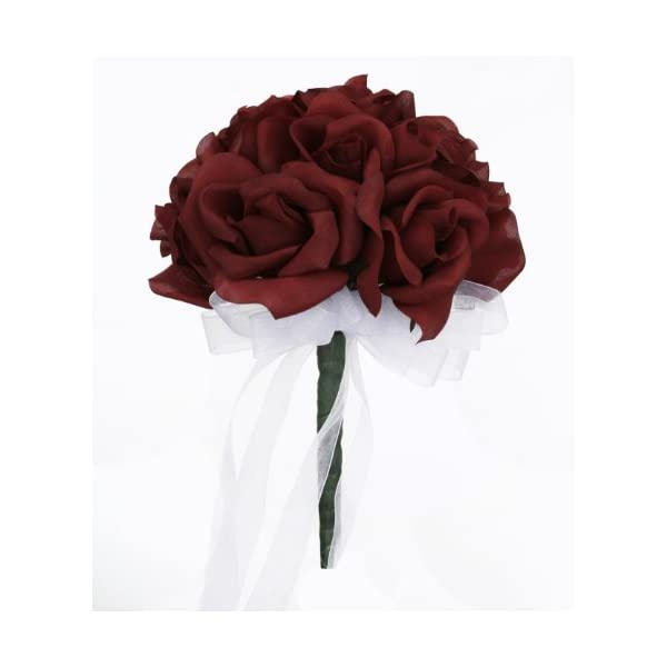 Burgundy Silk Rose Toss Bouquet – Silk Bridal Wedding Bouquet (Small)