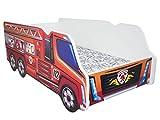 TODDLER CHILDREN KIDS BED INCLUDING MATTRESS CAR TRUCK (Fire Truck)