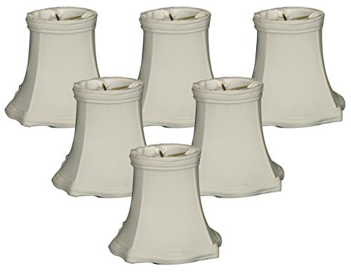 Royal Designs 5'' Decorative Trim Fancy Square Bell Chandelier Lamp Shade, White, Set of 6, 3 x 5 x 4.5 (CS-717WH-6) by Royal Designs, Inc