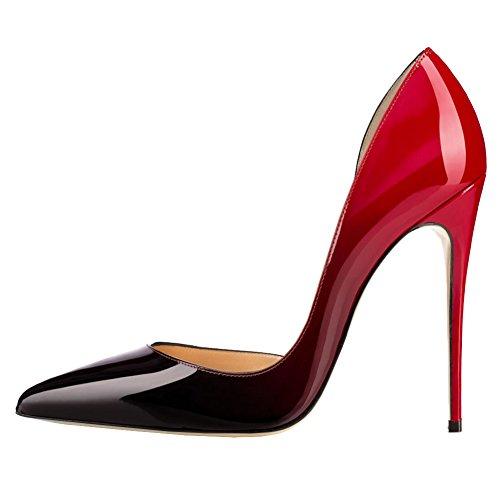 Teräväkärkiset Ja Naisille Korkokengät Pumput patentti Kengät Morsiamen Musta Naisten Punainen Vocosi Suljettu Hääjuhlissa BnSvaax