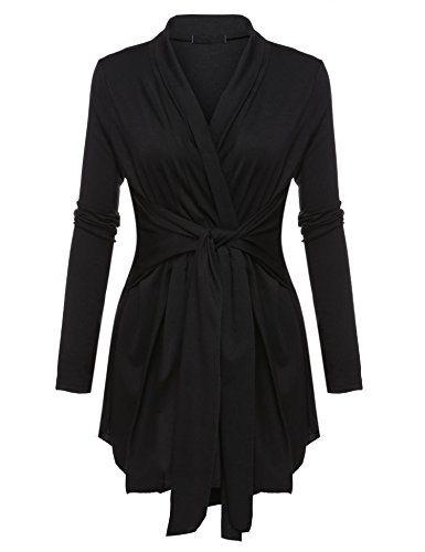 Belted Wrap Sweater - Dickin Women's Long Sleeve Asymmetric Hem Wrap Open Front Belted Cardigan Tops Black XXXL