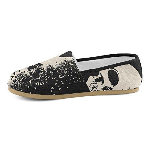 D-story Mode Sneakers Lägenheter Kvinna Klassisk Slip-on Canvas Skor Loafers Skallen 2