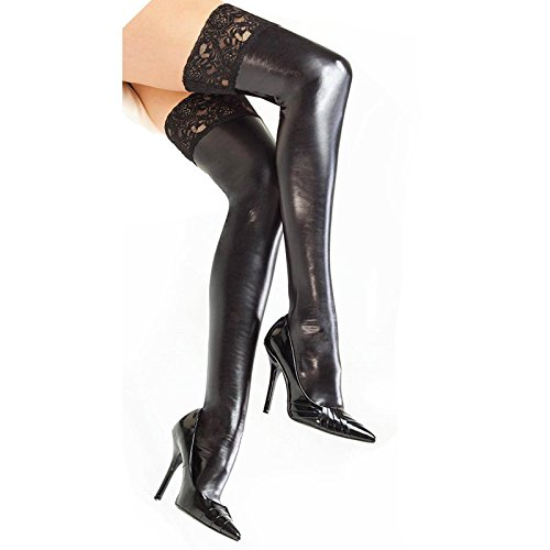 99de965cec7d4 Amazon.com: DreamsEden 1 Pair Women's Sexy Elastic Wet Look Thigh High  Stockings Black, One Size: Clothing