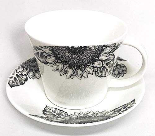 Roy Kirkham Floral Art Sunflower by Ian Kirkham Breakfast Tea Cup and Saucer Set Fine Bone China | Collectible Dated ()