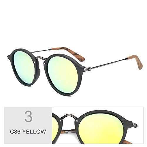 TIANLIANG04 De Polarizadas Madera Sol Redondas Gafas C86 Azul Gafas C19 De YELLOW Unisex Similares Uv400 TWqrUTx1n