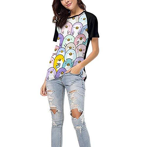 Laki-co Women's Summer Short Sleeve - Cute Penguin Pattern Casual Raglan Tee Baseball Tshirts Tops Blouse S Black