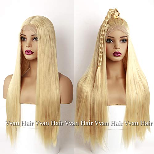 Vvan Lace Front Wigs 613# Blonde Wig Heat Resistant Fiber Long Straight Hair Synthetic Lace Wigs for Women with Baby Hair 24