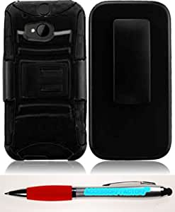 Accessory Factory(TM) Bundle (the item, 2in1 Stylus Point Pen) For HTC One M8 Side Stand Cover Case With Holster - Black+Black