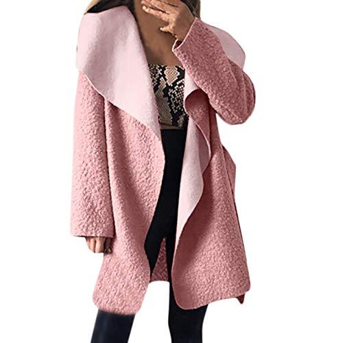 (YKARITIANNA Women Solid Irregular Lapel Neck Outwear Coat Cinch Waist with Belt Overcoat Cardigan Tops, Tees & Blouses)