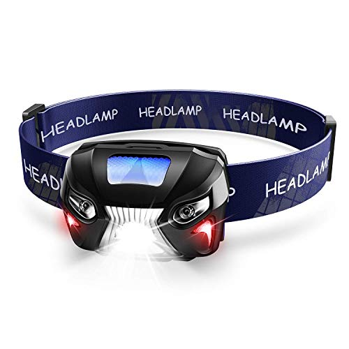 Rechargeable Sensor Headlamp,Ultra Bright 600 Lumens White Cree LED Head Lamp Flashlight with Redlight and Motion Sensor Switch,Great For Running, Camping, Hiking,Waterproof,Lightweight