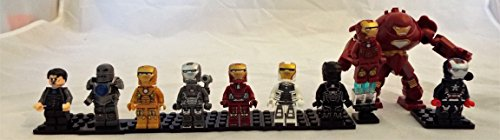 [Iron Man Set of 10 Mini Figures Fit All Lego Playsets Hulk Buster, Mark I, Mark V, Stealth Armor, War Machine] (Iron Man Suits)