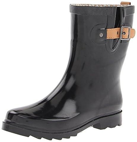 Chooka Women's Mid-Height Rain Boot, Black/Shiny, 8 M US