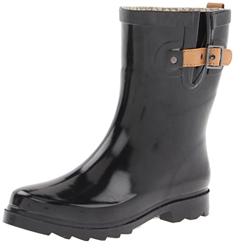Chooka Women's Top Solid Mid Rain Boot, Black Shiny, 9 M US