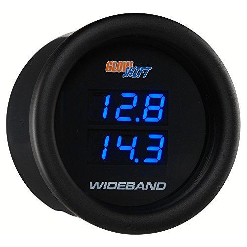 GlowShift Black 7 Series Dual Digital Wideband Air/Fuel Ratio Gauge with 2 Oxygen Sensors & 2 Data Logging ()