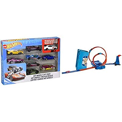 Hot Wheels 9-Car Gift Pack (Styles May Vary) AND Hot Wheels Track Builder Multi-Loop Box: Toys & Games