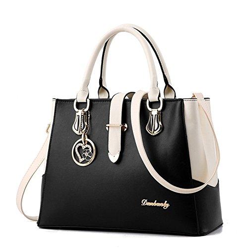 Mikty Women's Fashion PU Handbags Evening Shoulder Bags Tote Bags Black