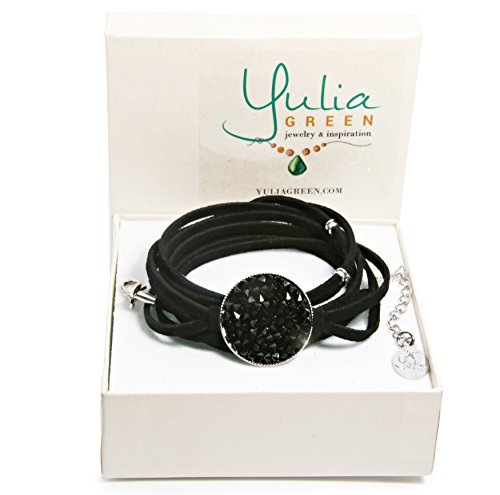 Alluring Black Leather (Yulia Green Jewerly Genuine Leather Bracelet with Crystals Swarovski, silver Plated Handmade by (Black))