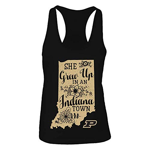 FanPrint Purdue Boilermakers Tank Top - She Grew Up in an Indiana Town - Women's Tank Top/Black/S