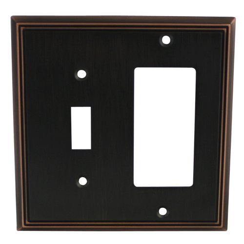 Cosmas 65027-ORB Oil Rubbed Bronze Single Toggle/GFI Decora Rocker Combo Wall Switch Plate Switchplate Cover ()
