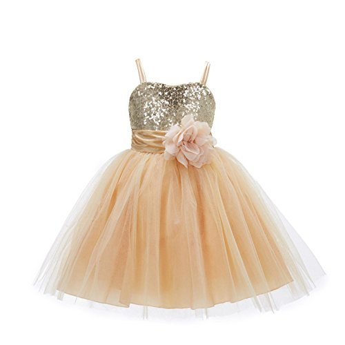 ekidsbridal Wedding Pageant Sequin Flower Girl Dress Tulle Toddler Bridesmaid Communion 1508NF