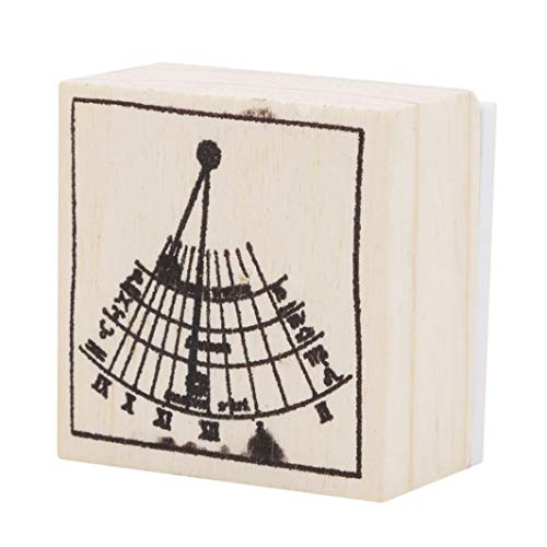 YouCY Wooden Rubber Stamps for Scrapbooking Planner Albums Diary Decoration Birthday Thinking Rays Graphics Stamp DIY Craft Nine Planet Stamp Toy,Sundial by YouCY (Image #2)