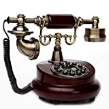 Resin wood retro style vintage corded home phone, vintage classic wired phone fixed home and office decoration, a variety of styles to choose from (Style : B)