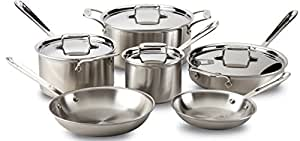 All-Clad 8400001085 BD005710-R D5 Brushed 18/10 Stainless Steel 5-Ply Bonded Dishwasher Safe Cookware Set, 10-Piece