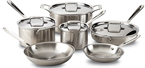 - All-Clad BD005710-R D5 Brushed 18/10 Stainless Steel 5-Ply Bonded Dishwasher Safe Cookware Set, 10-Piece