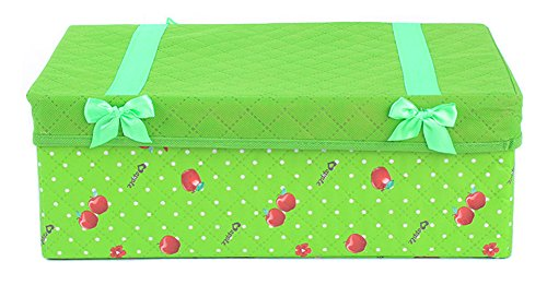Yogolife Non-woven Floral Printed Bowknot Homeware Gift Case Storage Box Basket Green