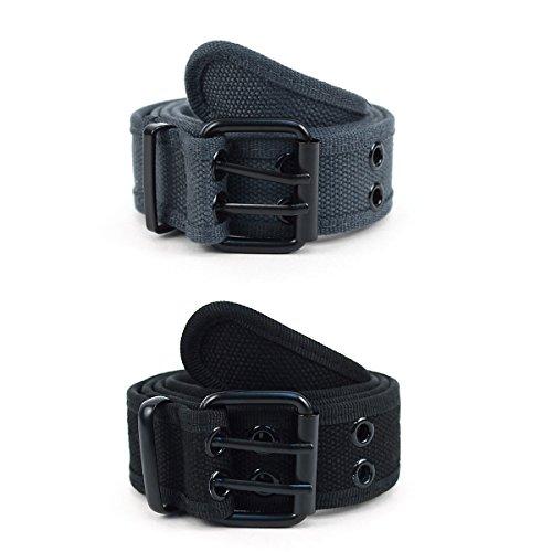 Men's Women's Double Hole Canvas Belts Double Grommet Hole Buckle Belt