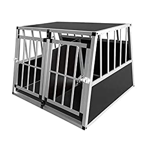 Dog Cage, Aluminum Car Dog Cage Travel Car Crate Puppy Transport Pet Carrier WarmieHomy(104 x 91x 70cm) 6