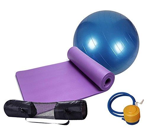 MIYOUDA Extra Thick Non-slip Yoga Mat(10mm) + 1 Yoga Fitness Ball(65cm/75cm)+ 1 Pump Air +1 Carry Bag