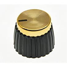 KAISH 20pcs Guitar AMP Amplifier Push on Knobs Black w/ Gold Cap for Marshall Amplifier