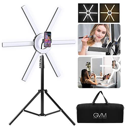 GVM 600S Led Video Lighting Kit, 90W Dimmable Bi-Color LED Ring Light with Stand, Detachable Light Bars, CRI 97+ 3200K-5600K Led Video Light for Camera, Smartphone, YouTube, Self-Portrait Shooting